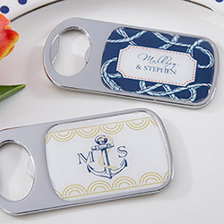 Personalized Bottle Opener with Epoxy Dome - Kates Nautical Wedding Collection