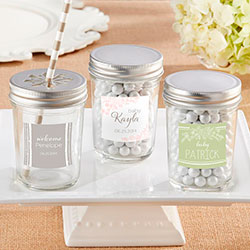 Personalized Glass Mason Jar - Kates Rustic Baby Shower Collection (Set of 12)